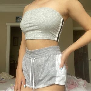 GARAGE Gray Cropped Striped Bandeau Top